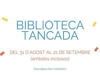 Biblioteca tancada fins al 21 de setembre