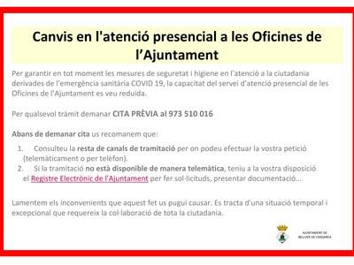 CANVIS EN L'ATENCIÓ PRESENCIAL A LES OFICINES DE L'AJUNTAMENT