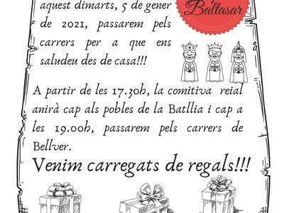 Missatge reial! Ses majestats els Reis d'Orient passaran pels carrers de Bellver i Batllia