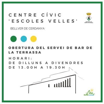 Obertura del servei de bar de la terrassa del Centre Cívic 'Escoles Velles' de Bellver de Cerdanya